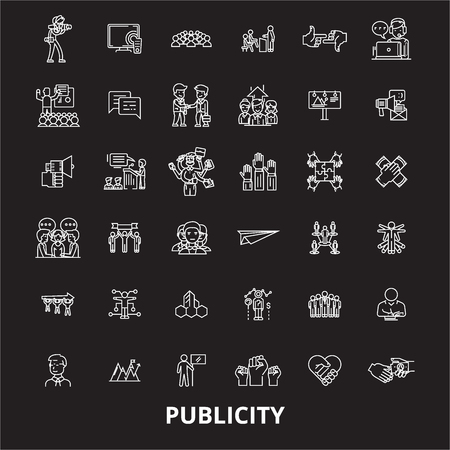 Publicity editable line icons vector set on black background. Publicity white outline illustrations, signs,symbols Ilustração
