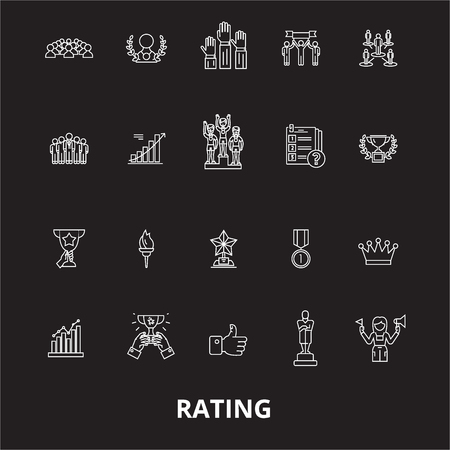 Ratings editable line icons vector set on black background. Ratings white outline illustrations, signs,symbols