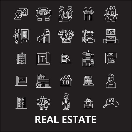 Real estate editable line icons vector set on black background. Real estate white outline illustrations, signs,symbols Illustration