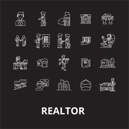 Realtor editable line icons vector set on black background. Realtor white outline illustrations, signs,symbols Illusztráció