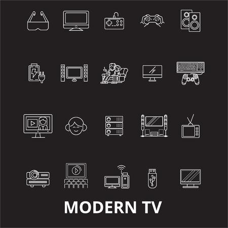 Modern tv editable line icons vector set on black background. Modern tv white outline illustrations, signs,symbols