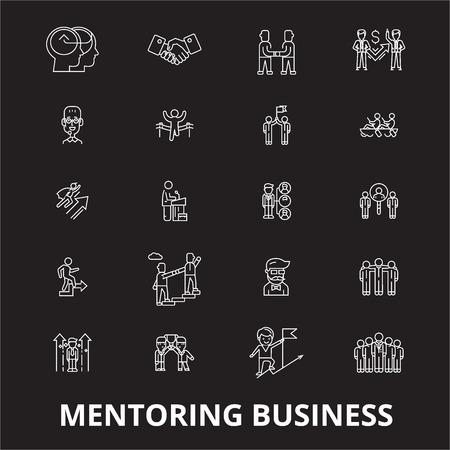 Mentoring business editable line icons vector set on black background. Mentoring business white outline illustrations, signs,symbols