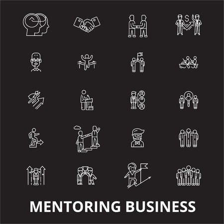 Mentoring business editable line icons vector set on black background. Mentoring business white outline illustrations, signs,symbols