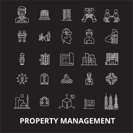 Property management editable line icons vector set on black background. Property management white outline illustrations, signs,symbols