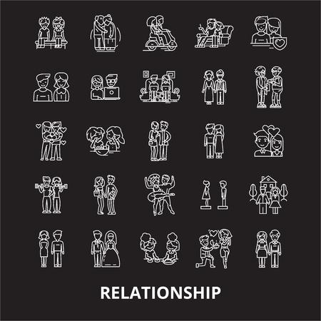 Relationship editable line icons vector set on black background. Relationship white outline illustrations, signs,symbols Illustration