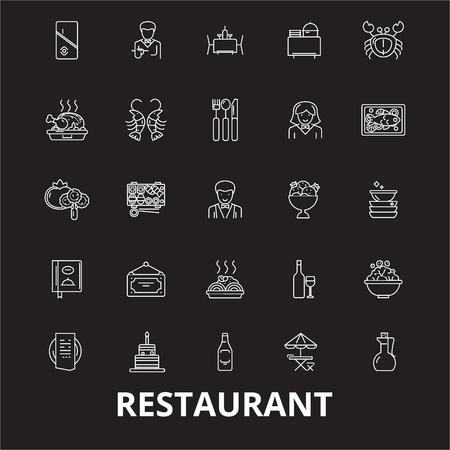 Restaurant editable line icons vector set on black background. Restaurant white outline illustrations, signs,symbols Illustration