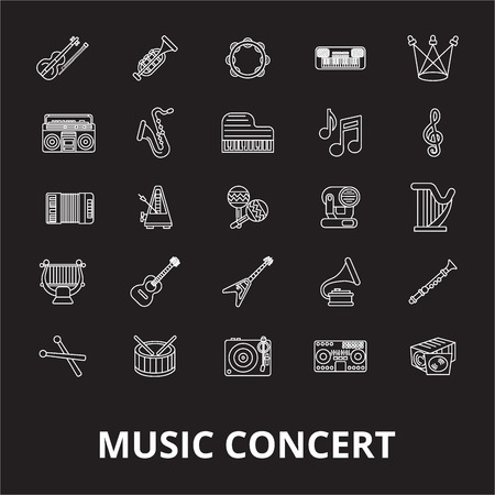 Music concert editable line icons vector set on black background. Music concert white outline illustrations, signs,symbols