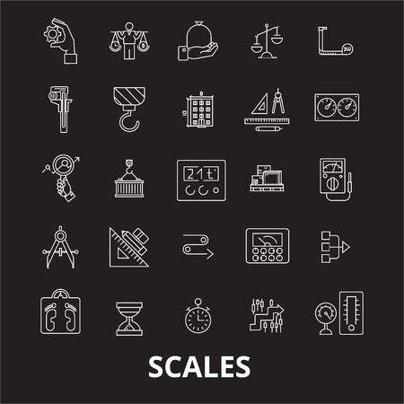 Scales editable line icons vector set on black background. Scales white outline illustrations, signs,symbols Illustration