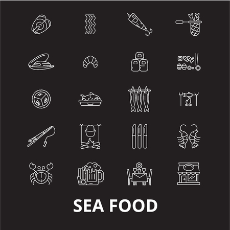 Sea food icons editable line icons vector set on black background. Sea food icons white outline illustrations, signs,symbols 写真素材 - 114823424