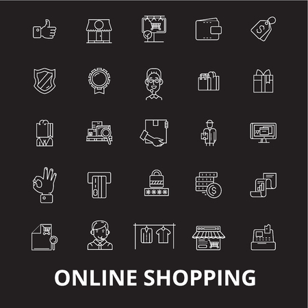 Online shopping editable line icons vector set on black background. Online shopping white outline illustrations, signs,symbols Illustration