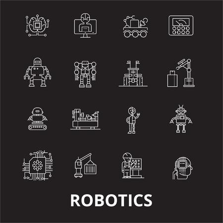 Robotics editable line icons vector set on black background. Robotics white outline illustrations, signs,symbols Illustration