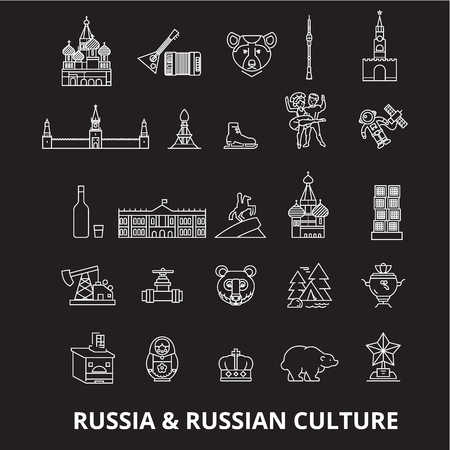 Russia editable line icons vector set on black background. Russia white outline illustrations, signs,symbols