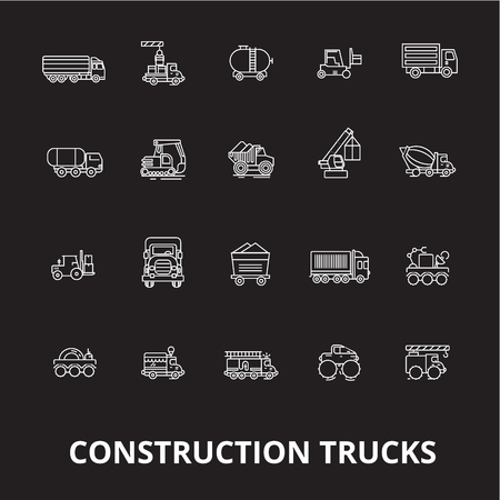 Trucks construction editable line icons vector set on black background. Trucks construction white outline illustrations, signs,symbols Illustration
