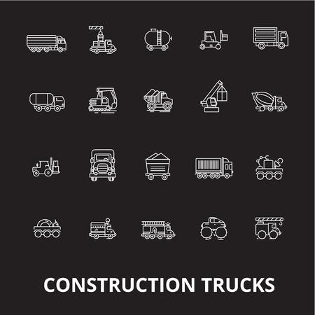 Trucks construction editable line icons vector set on black background. Trucks construction white outline illustrations, signs,symbols Ilustrace