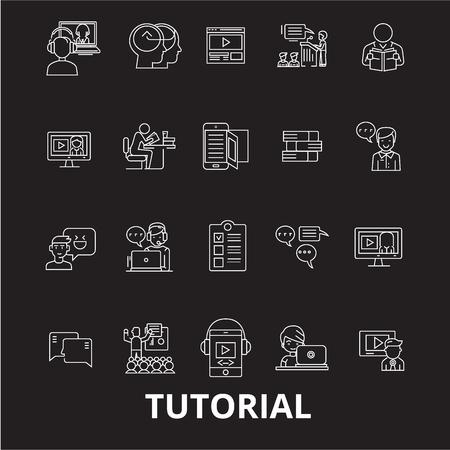 Tutorials editable line icons vector set on black background. Tutorials white outline illustrations, signs,symbols