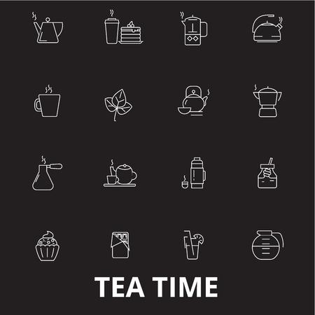 Teatime editable line icons vector set on black background. Teatime white outline illustrations, signs,symbols