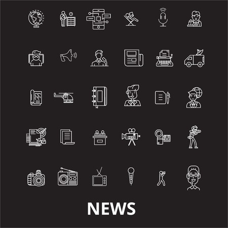 News editable line icons vector set on black background. News white outline illustrations, signs,symbols Stock Illustratie