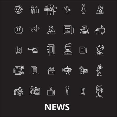News editable line icons vector set on black background. News white outline illustrations, signs,symbols Illustration