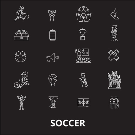 Soccer editable line icons vector set on black background. Soccer white outline illustrations, signs,symbols Ilustração