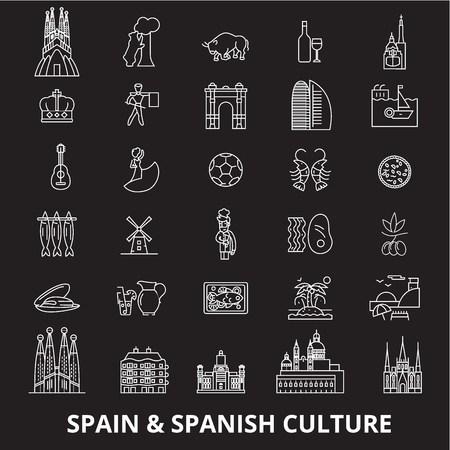 Spain editable line icons vector set on black background. Spain white outline illustrations, signs,symbols
