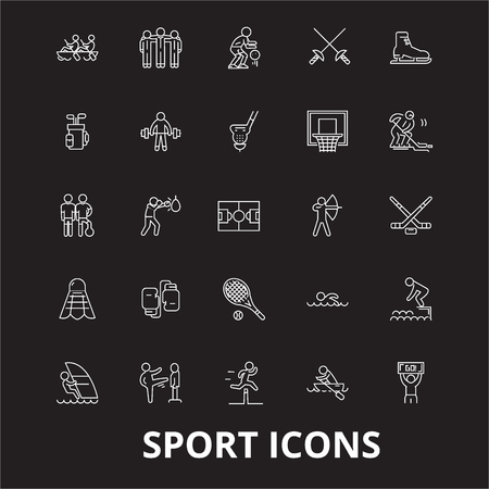 Sport editable line icons vector set on black background. Sport white outline illustrations, signs,symbols