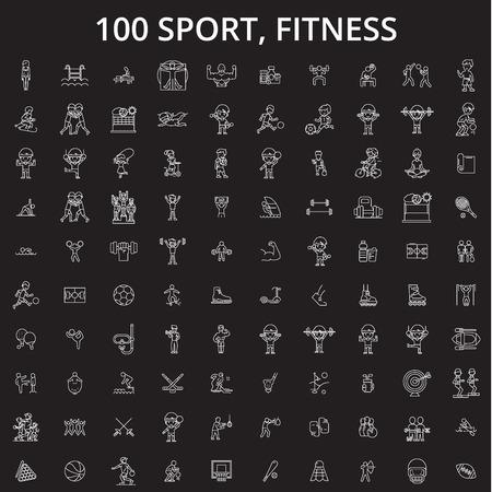 Sport, fitness editable line icons vector set on black background. Sport, fitness white outline illustrations, signs,symbols  イラスト・ベクター素材