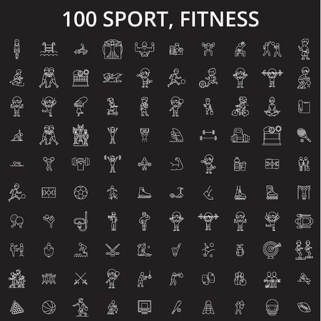 Sport, fitness editable line icons vector set on black background. Sport, fitness white outline illustrations, signs,symbols Illustration