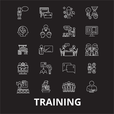 Training editable line icons vector set on black background. Training white outline illustrations, signs,symbols