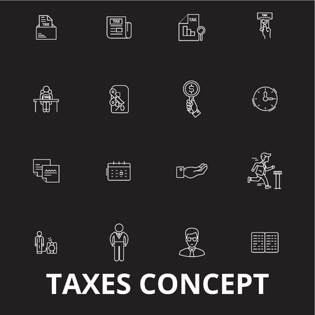 Taxes editable line icons vector set on black background. Taxes white outline illustrations, signs,symbols