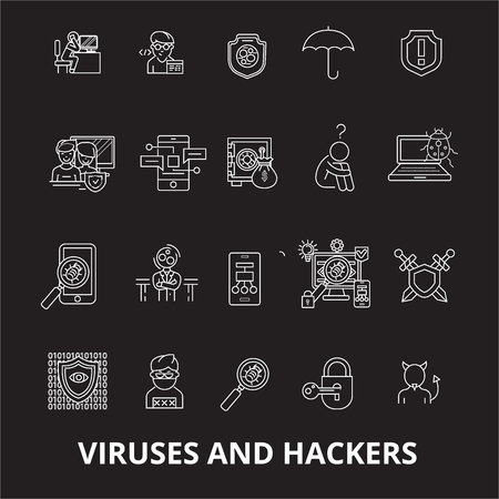 Viruses and hackers editable line icons vector set on black background. Viruses and hackers white outline illustrations, signs,symbols