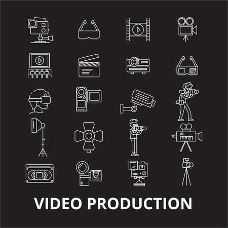 Video production editable line icons vector set on black background. Video production white outline illustrations, signs,symbols 向量圖像
