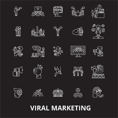 Viral editable line icons vector set on black background. Viral white outline illustrations, signs,symbols Vector Illustration