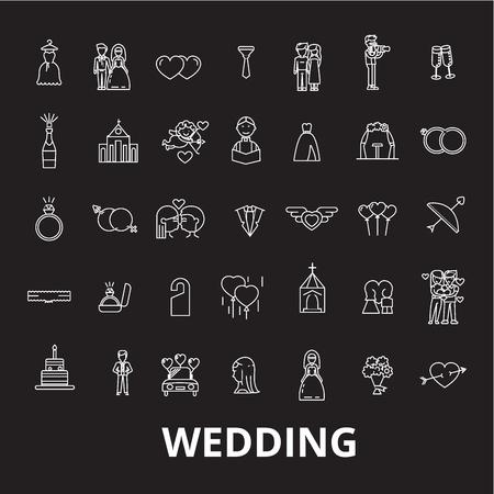 Wedding editable line icons vector set on black background. Wedding white outline illustrations, signs,symbols Illustration