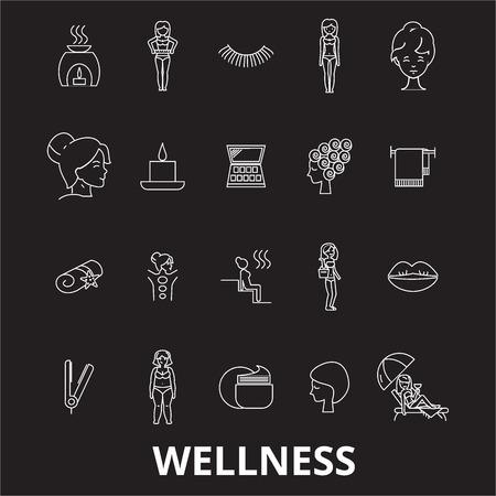 Wellness editable line icons vector set on black background. Wellness white outline illustrations, signs,symbols