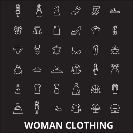 Woman clothing editable line icons vector set on black background. Woman clothing white outline illustrations, signs,symbols