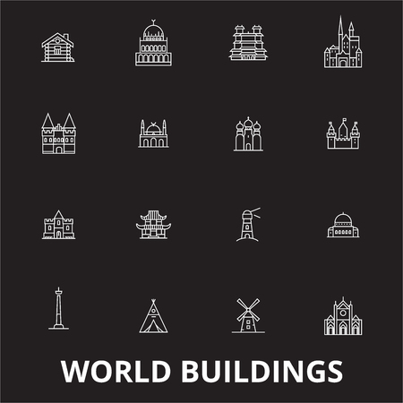 World buildings editable line icons vector set on black background. World buildings white outline illustrations, signs,symbols