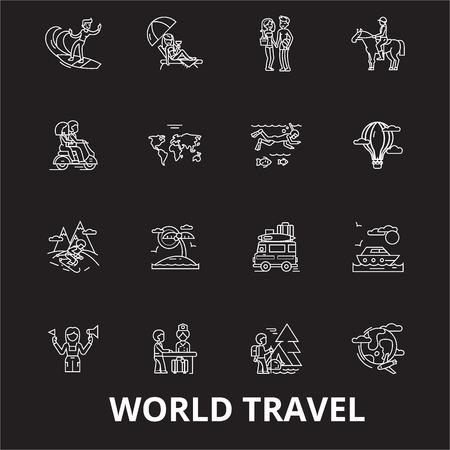 World travel editable line icons vector set on black background. World travel white outline illustrations, signs,symbols