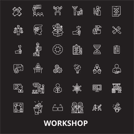 Workshop editable line icons vector set on black background. Workshop white outline illustrations, signs,symbols Illusztráció