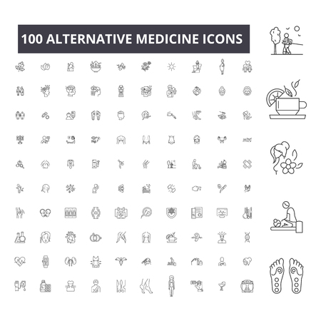 Alternativmedizin bearbeitbare Liniensymbole, 100 Vektor-Set auf weißem Hintergrund. Alternativmedizin schwarze Umrissillustrationen, Zeichen, Symbole Vektorgrafik