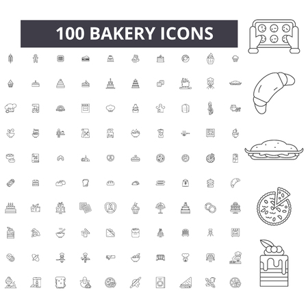 Bakery editable line icons, 100 vector set on white background. Bakery black outline illustrations, signs, symbols Illustration