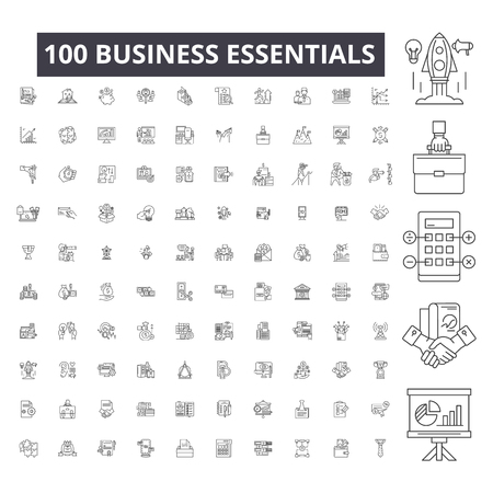 Business essentials editable line icons, 100 vector set on white background. Business essentials black outline illustrations, signs, symbols  イラスト・ベクター素材