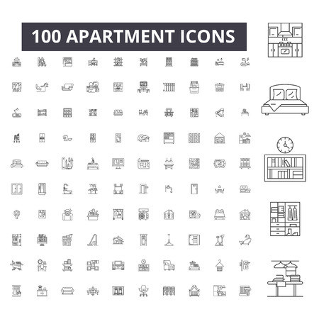 Apartment editable line icons, 100 vector set on white background. Apartment black outline illustrations, signs, symbols