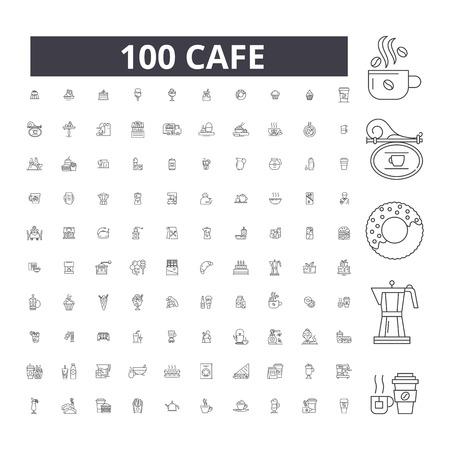 Cafe editable line icons, 100 vector set on white background. Cafe black outline illustrations, signs, symbols 版權商用圖片 - 116430454