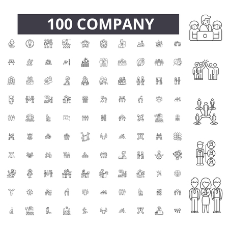 Company editable line icons, 100 vector set on white background. Company black outline illustrations, signs, symbols Standard-Bild - 125830169