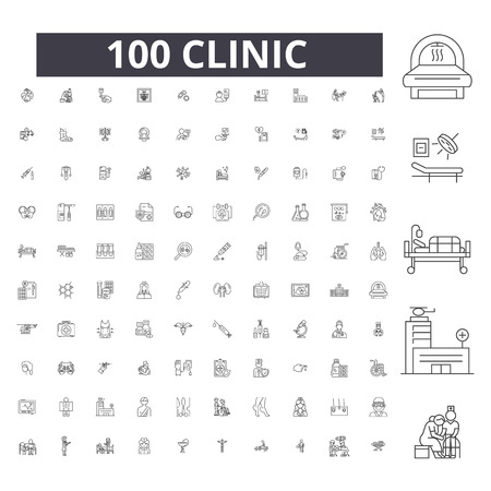 Clinic editable line icons, 100 vector set on white background. Clinic black outline illustrations, signs, symbols Banque d'images - 116430460