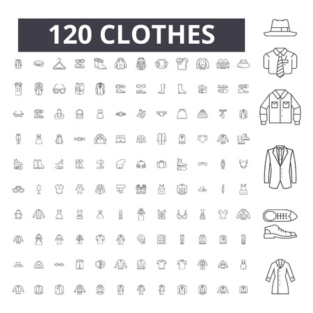 Ubrania można edytować linii ikony, 100 wektor zestaw na białym tle. Ubrania czarny kontur ilustracje, znaki, symbole Ilustracje wektorowe