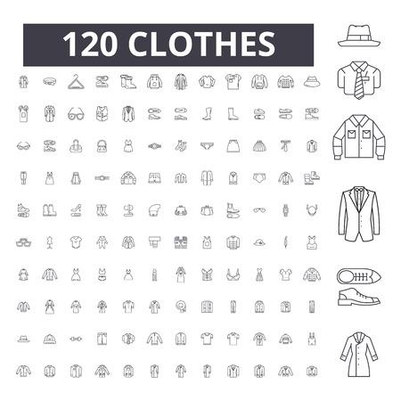 Vestiti della linea modificabile icone, 100 vettore impostato su sfondo bianco. Vestiti contorno nero illustrazioni, segni, simboli Vettoriali