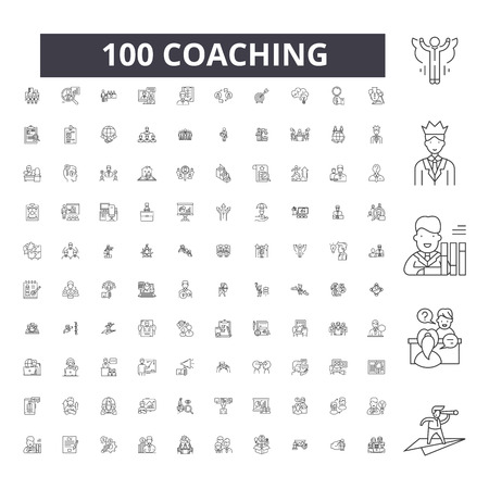 Coaching editable line icons, 100 vector set on white background. Coaching black outline illustrations, signs, symbols