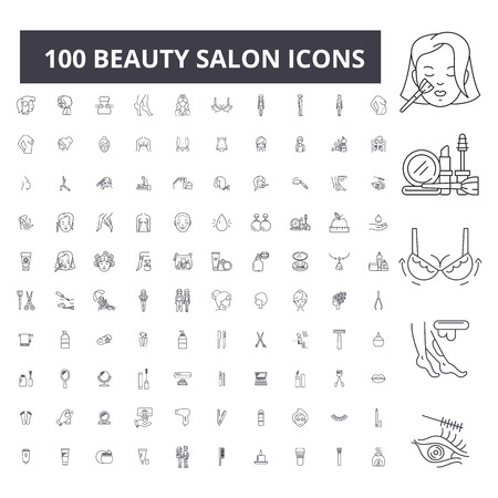Beauty salon editable line icons, 100 vector set on white background. Beauty salon black outline illustrations, signs, symbols