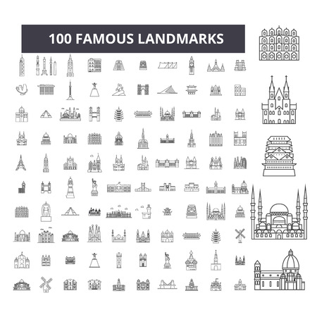 Famous landmarks editable line icons, 100 vector set on white background. Famous landmarks black outline illustrations, signs, symbols